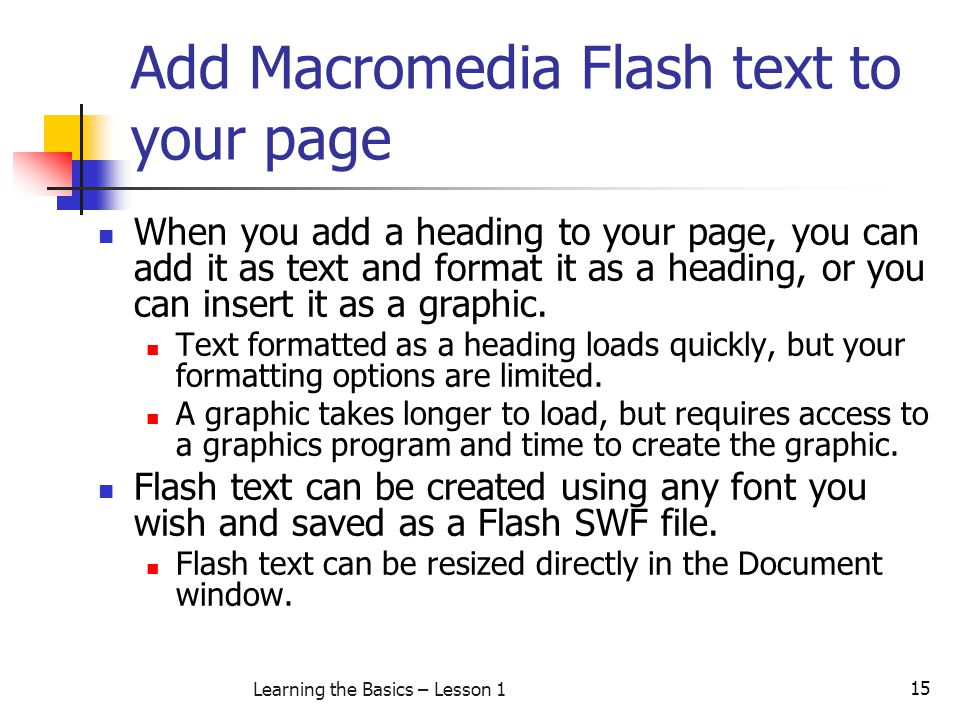 Add Macromedia Flash text to your page