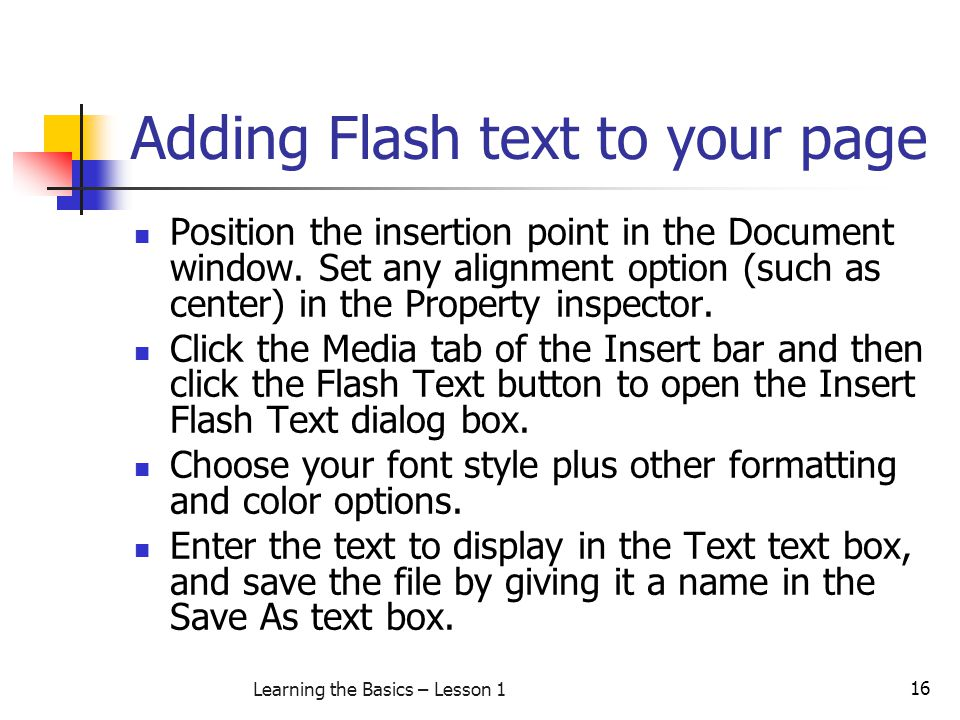 Adding Flash text to your page