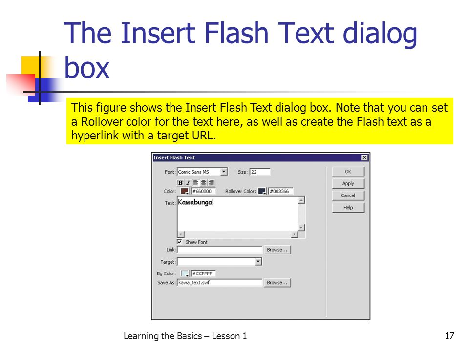 The Insert Flash Text dialog box
