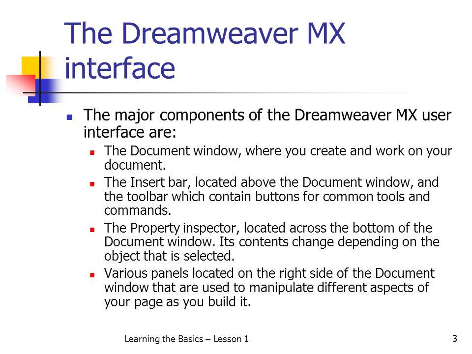The Dreamweaver MX interface