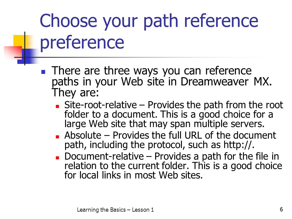 Choose your path reference preference