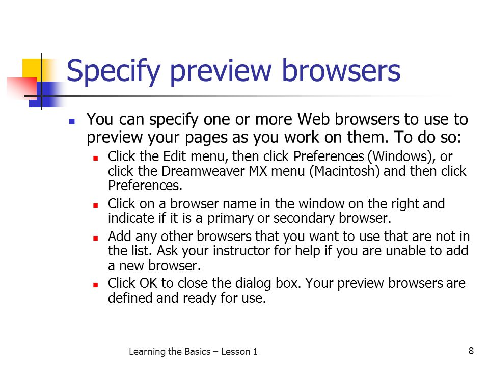 Specify preview browsers
