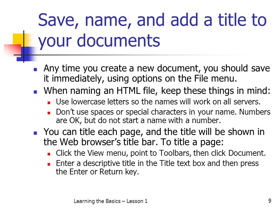 Save, name, and add a title to your documents