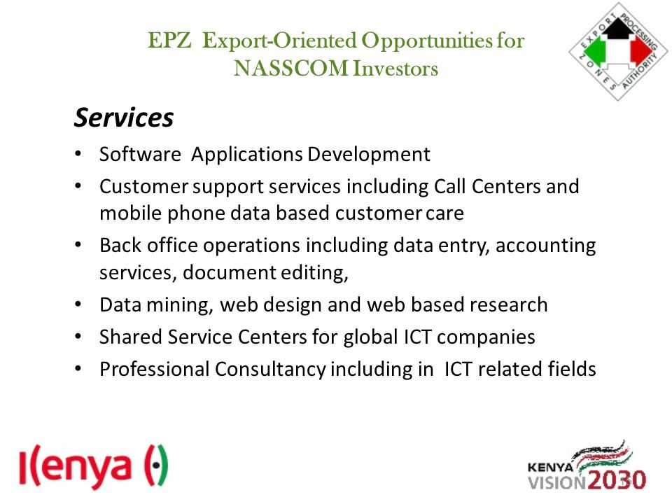 EPZ Export-Oriented Opportunities for NASSCOM Investors