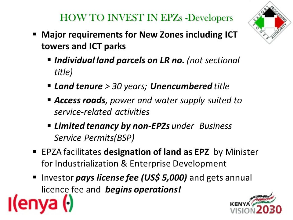 HOW TO INVEST IN EPZs -Developers