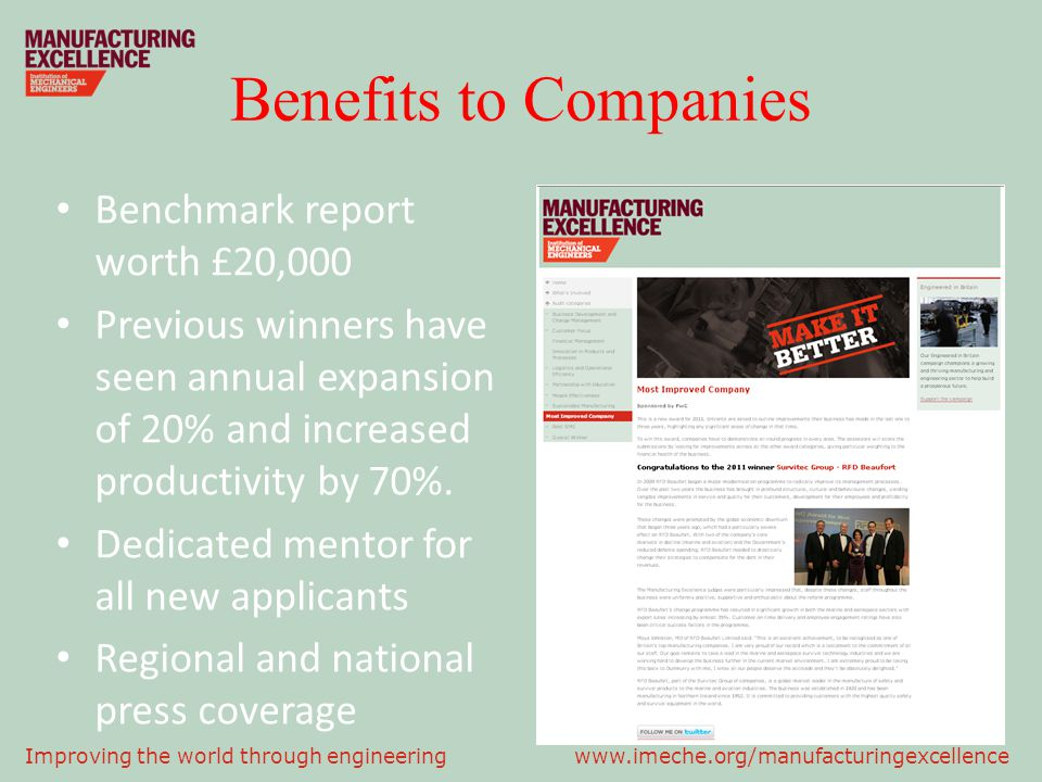 Benefits to Companies Benchmark report worth £20,000