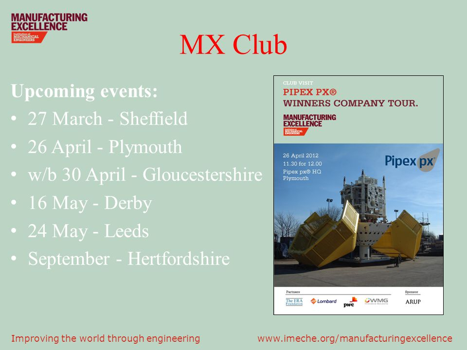 MX Club Upcoming events: 27 March - Sheffield 26 April - Plymouth