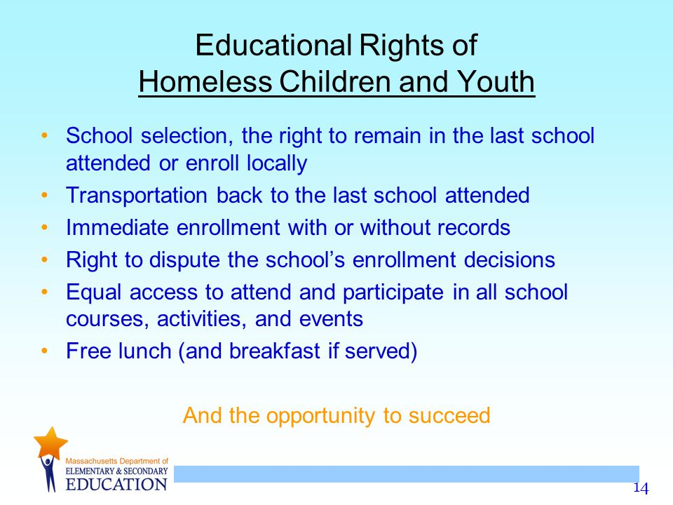 Educational Rights of Homeless Children and Youth
