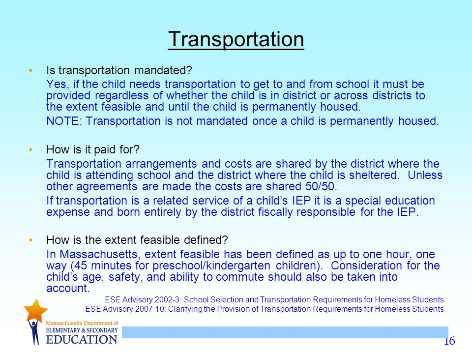 Transportation Is transportation mandated