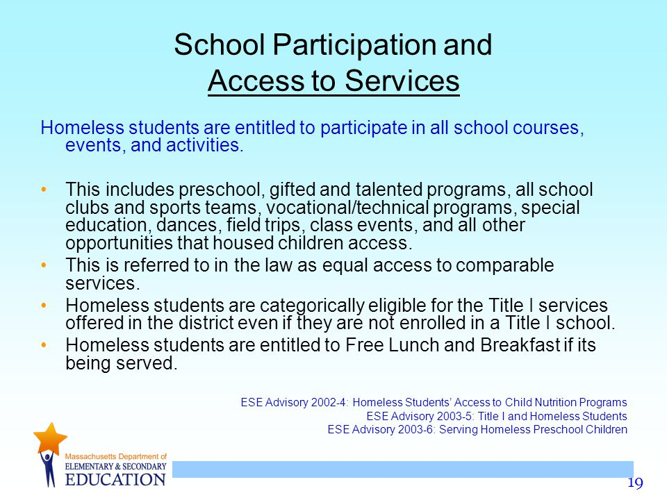 School Participation and Access to Services