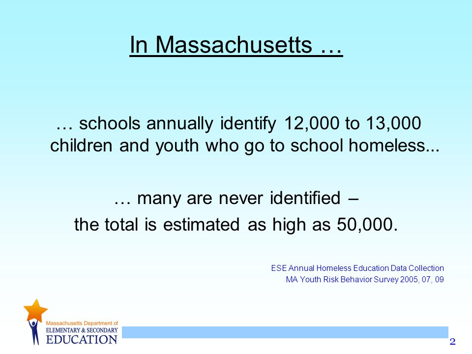 In Massachusetts … … schools annually identify 12,000 to 13,000 children and youth who go to school homeless...