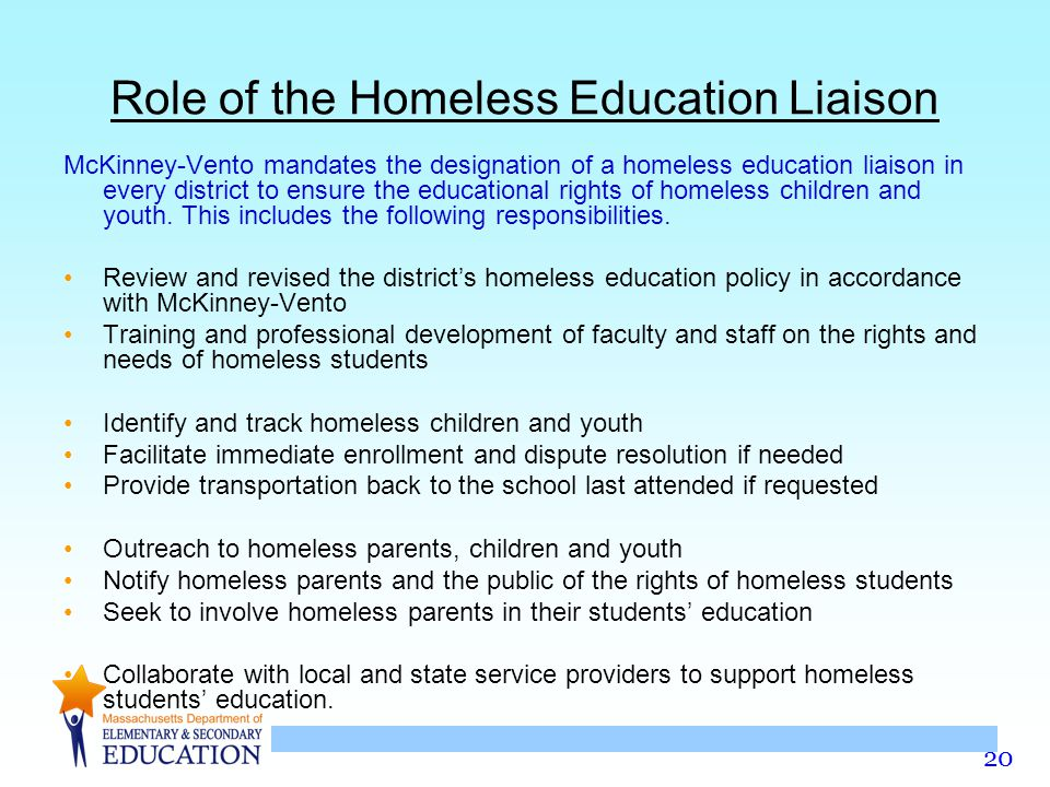 Role of the Homeless Education Liaison