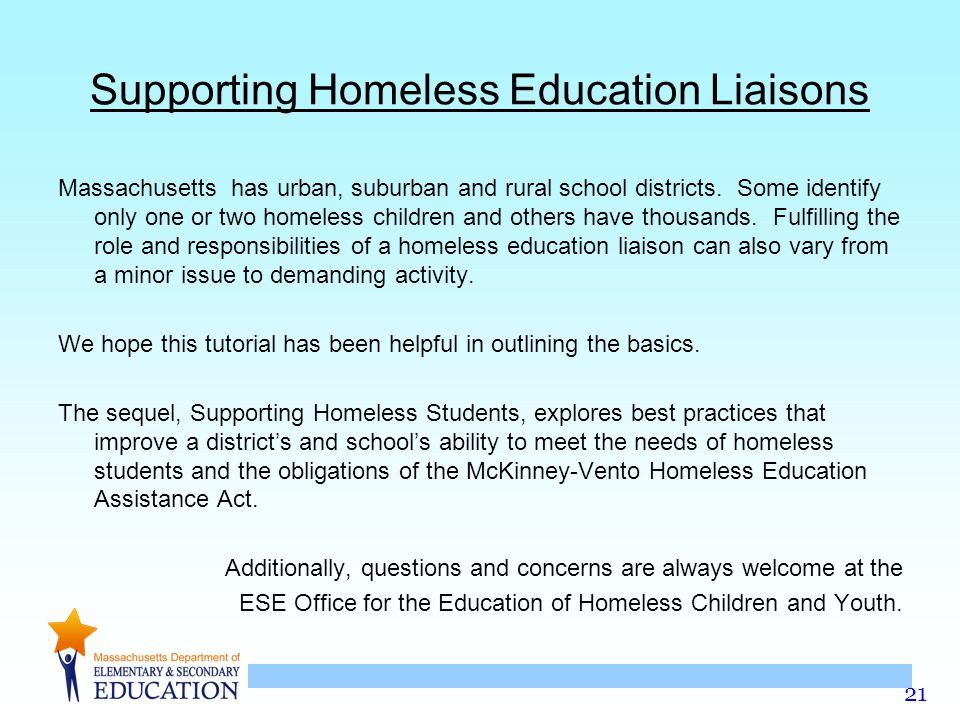 Supporting Homeless Education Liaisons