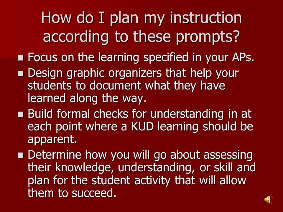 How do I plan my instruction according to these prompts