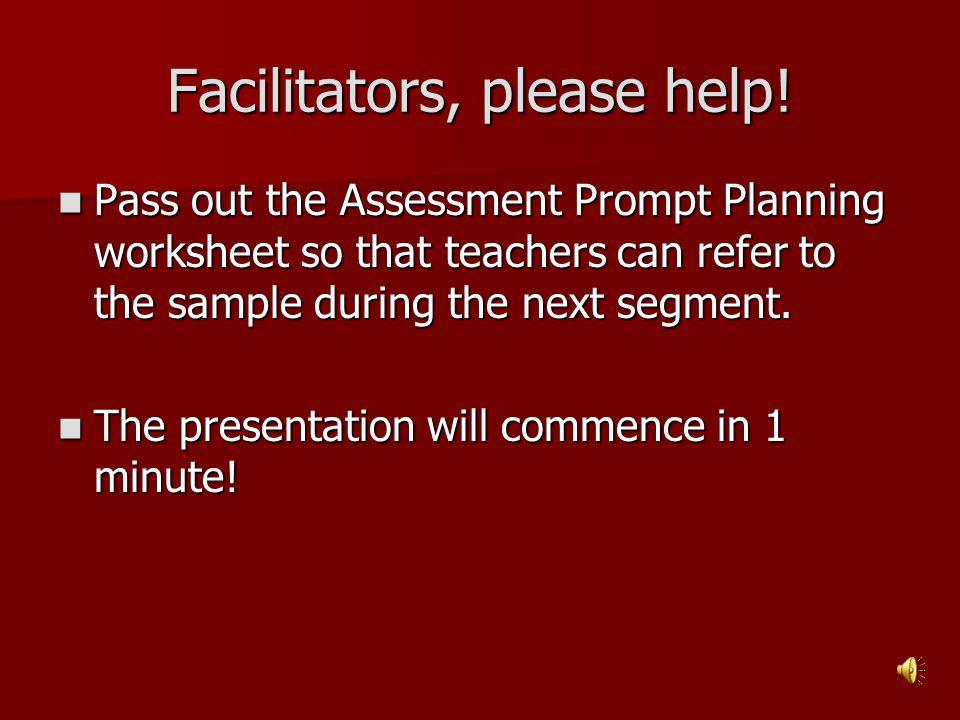 Facilitators, please help!