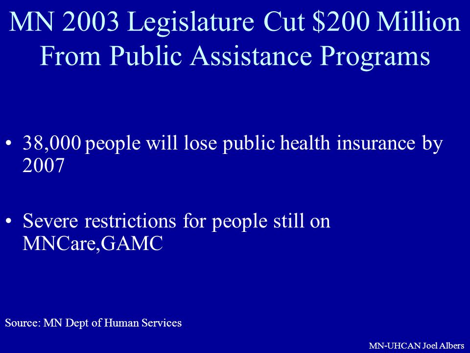 MN 2003 Legislature Cut $200 Million From Public Assistance Programs