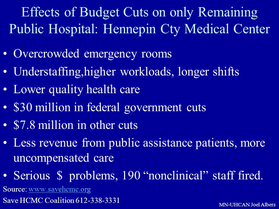 Effects of Budget Cuts on only Remaining Public Hospital: Hennepin Cty Medical Center