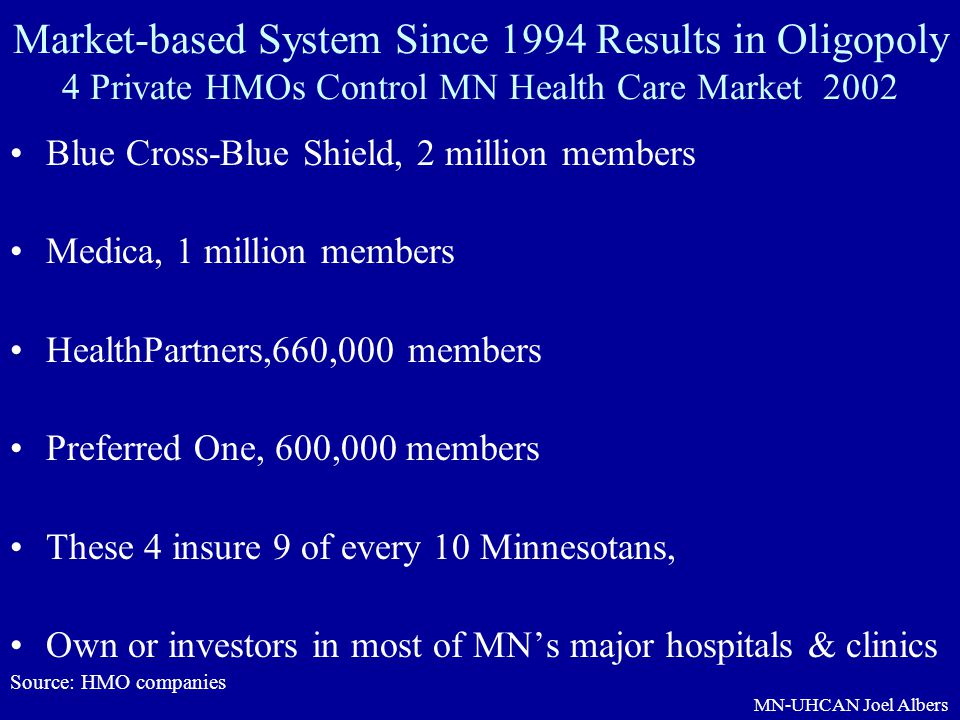 Market-based System Since 1994 Results in Oligopoly 4 Private HMOs Control MN Health Care Market 2002