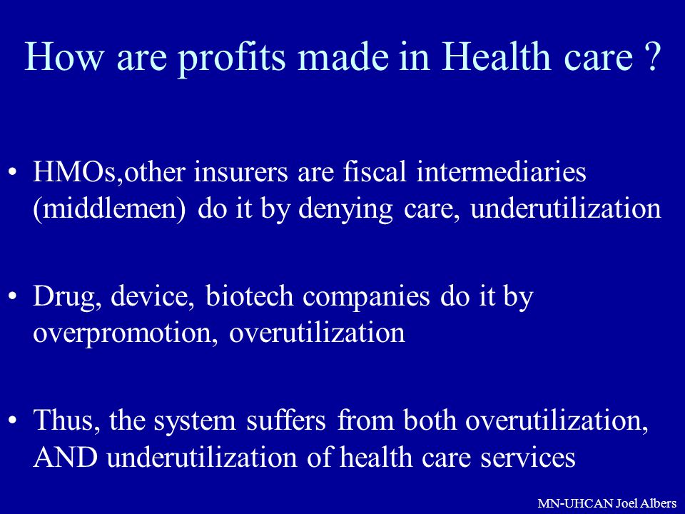 How are profits made in Health care