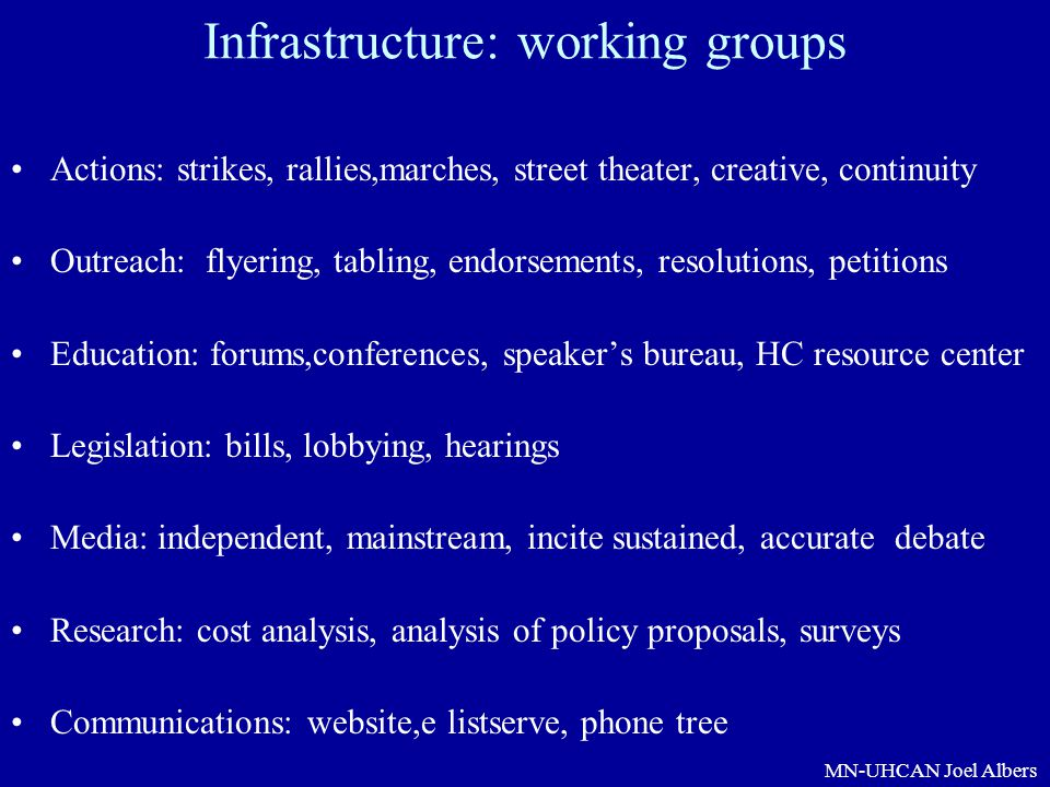 Infrastructure: working groups
