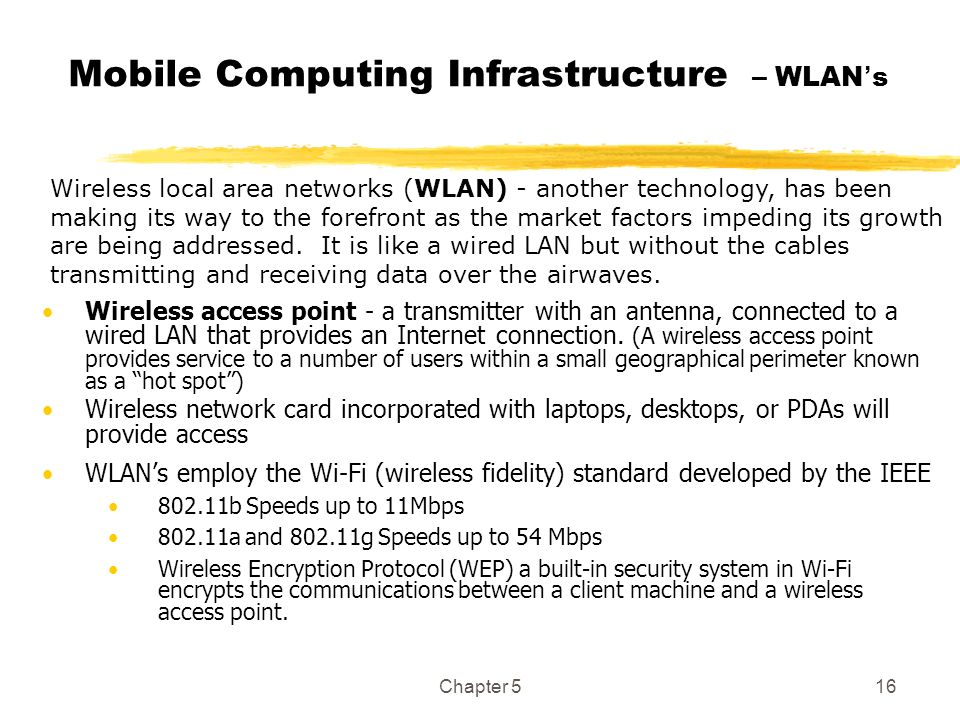 Mobile Computing Infrastructure – WLAN's