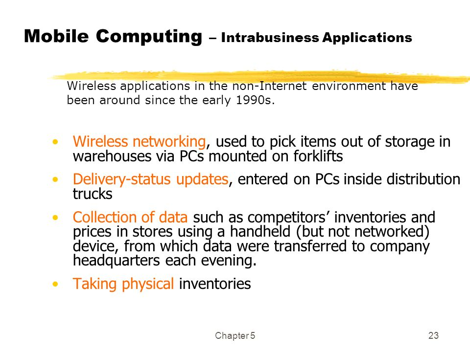 Mobile Computing – Intrabusiness Applications