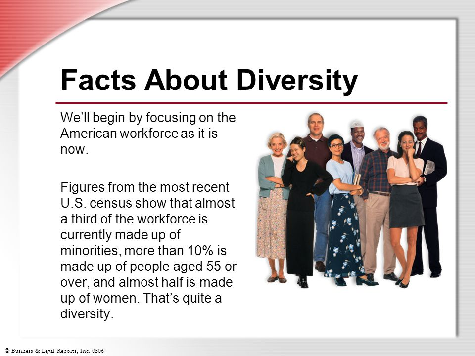 Facts About Diversity We'll begin by focusing on the American workforce as it is now.