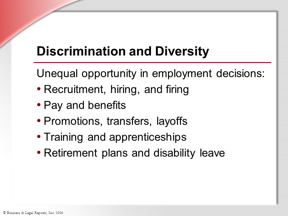 Discrimination and Diversity