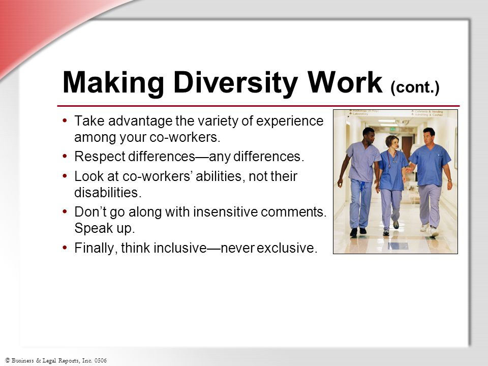 Making Diversity Work (cont.)