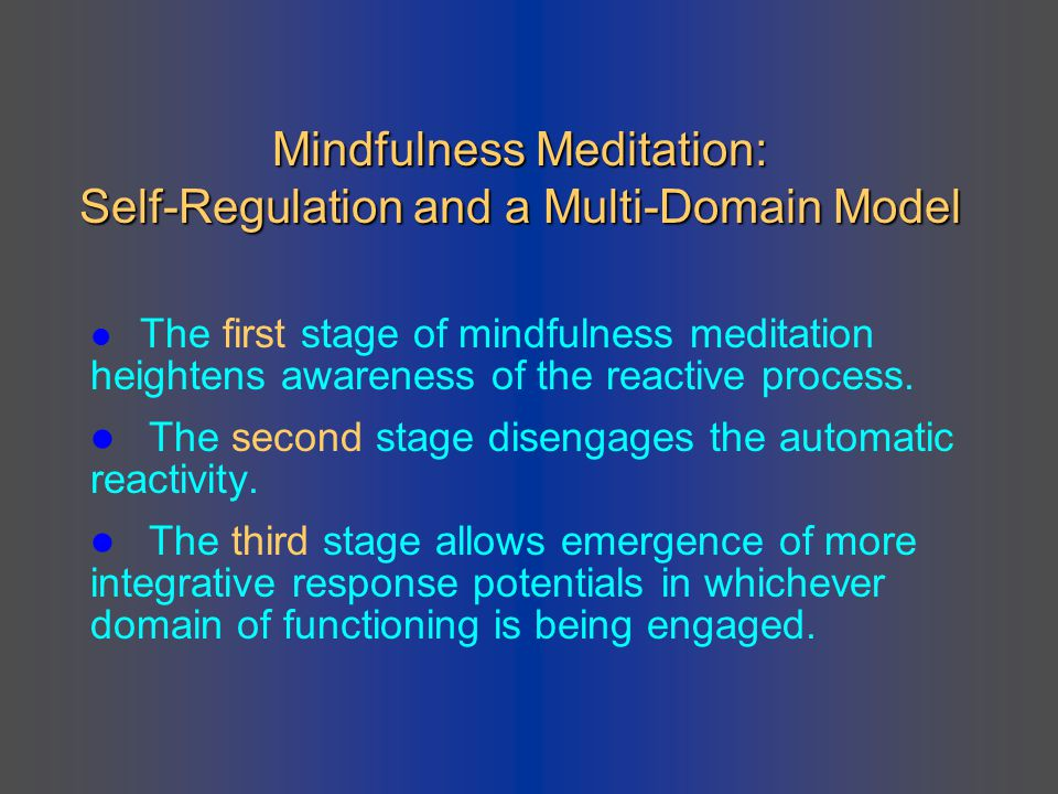 Mindfulness Meditation: Self-Regulation and a Multi-Domain Model
