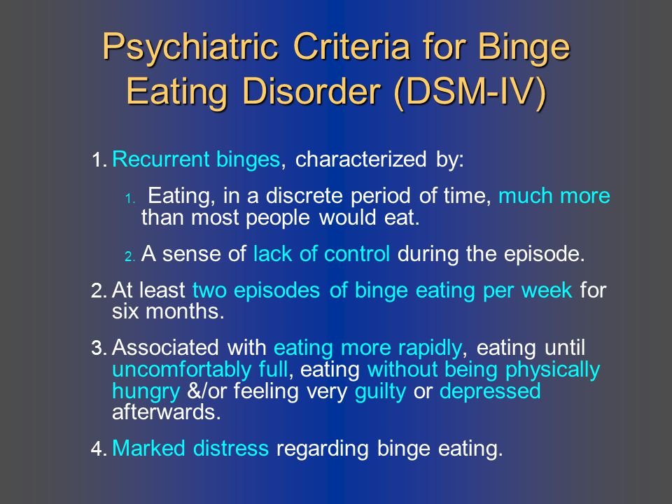 Psychiatric Criteria for Binge Eating Disorder (DSM-IV)
