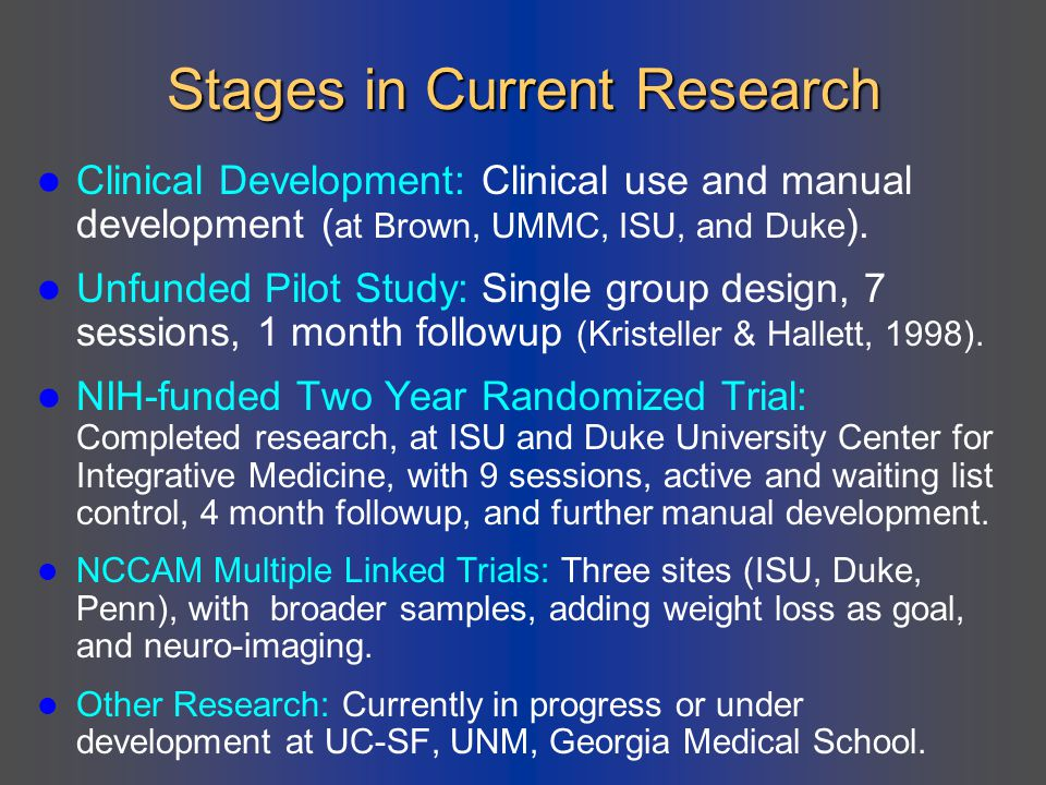 Stages in Current Research