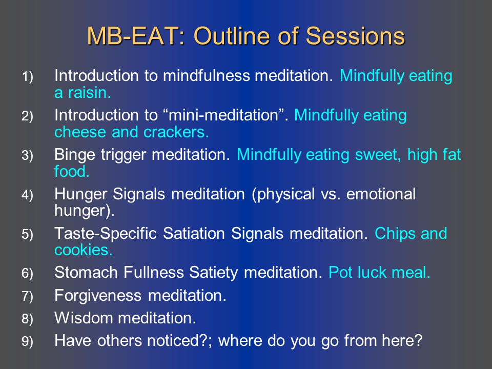 MB-EAT: Outline of Sessions