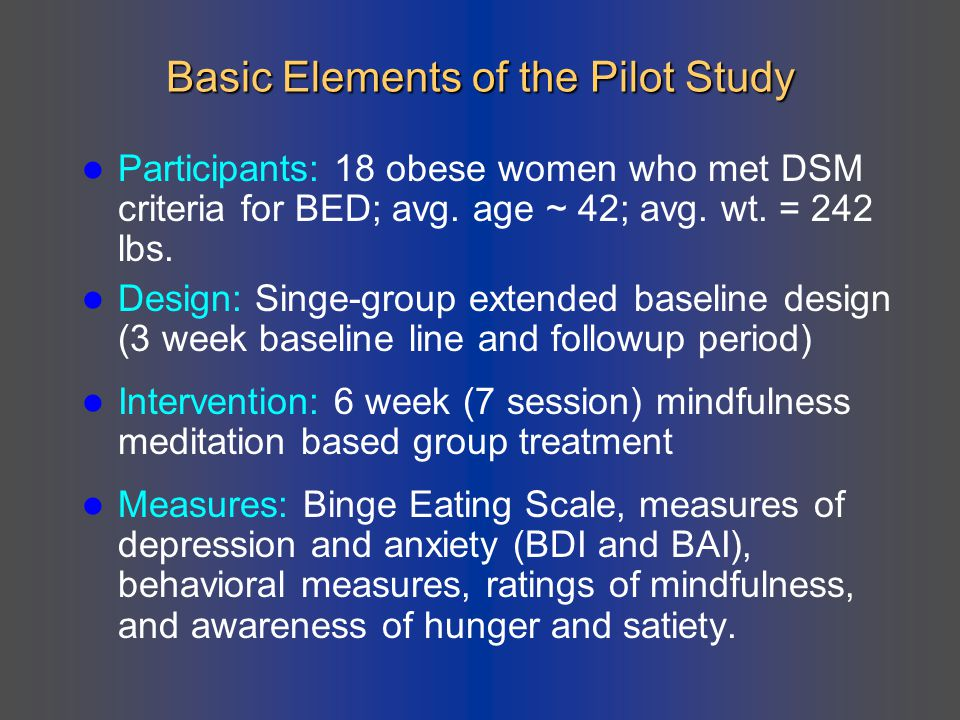 Basic Elements of the Pilot Study