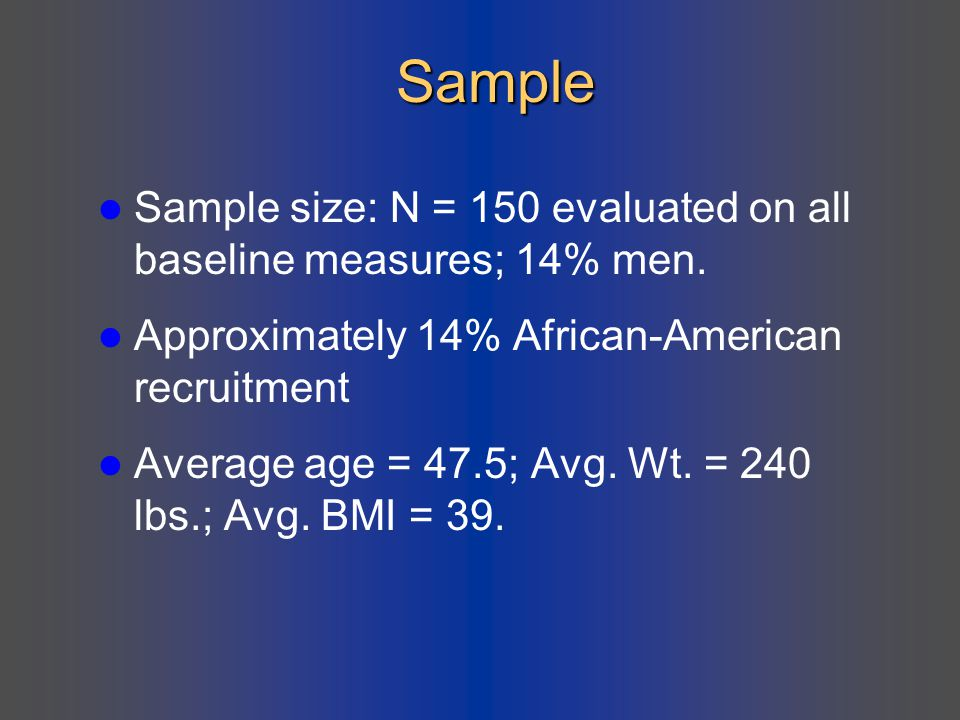 Sample Sample size: N = 150 evaluated on all baseline measures; 14% men. Approximately 14% African-American recruitment.