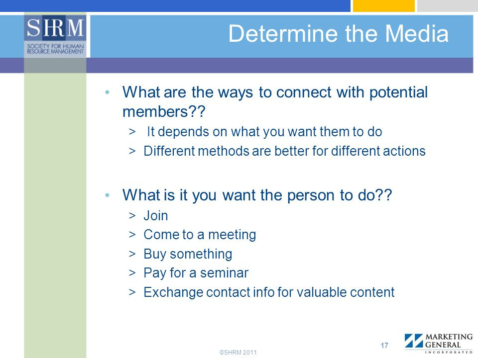 Determine the Media What are the ways to connect with potential members It depends on what you want them to do.