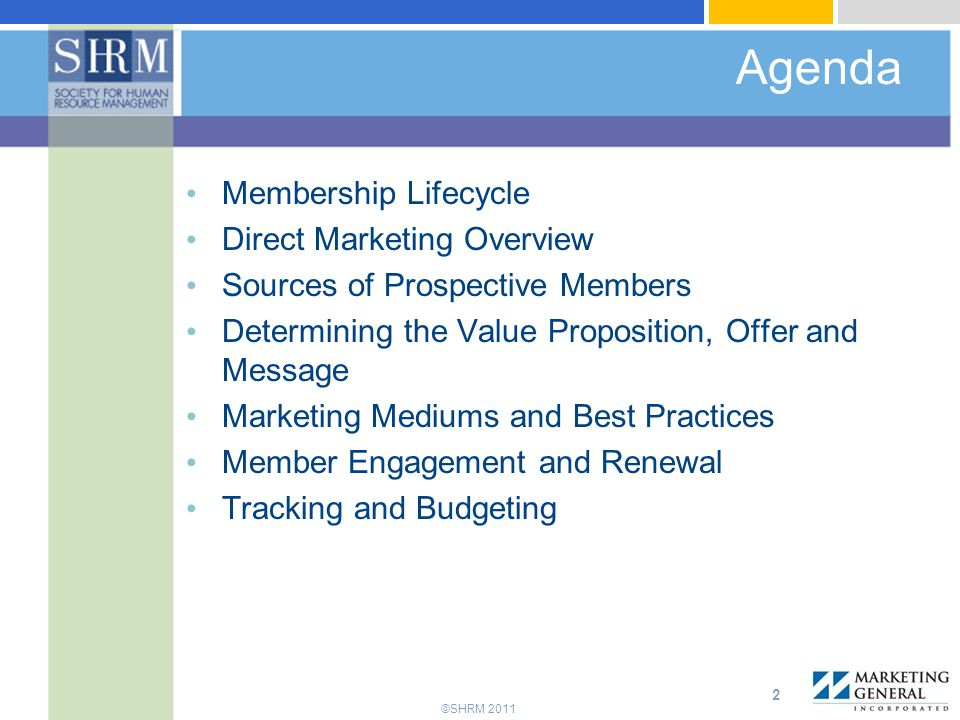 Agenda Membership Lifecycle Direct Marketing Overview