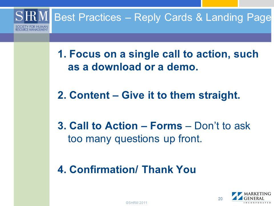 Best Practices – Reply Cards & Landing Page