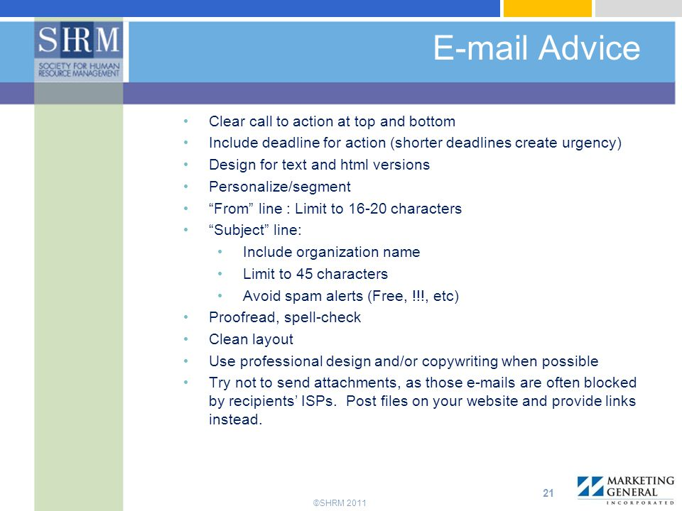 E-mail Advice Clear call to action at top and bottom