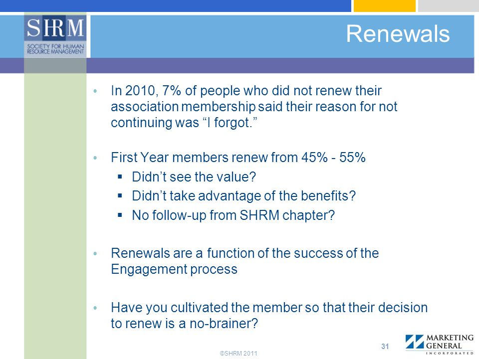 Renewals In 2010, 7% of people who did not renew their association membership said their reason for not continuing was I forgot.
