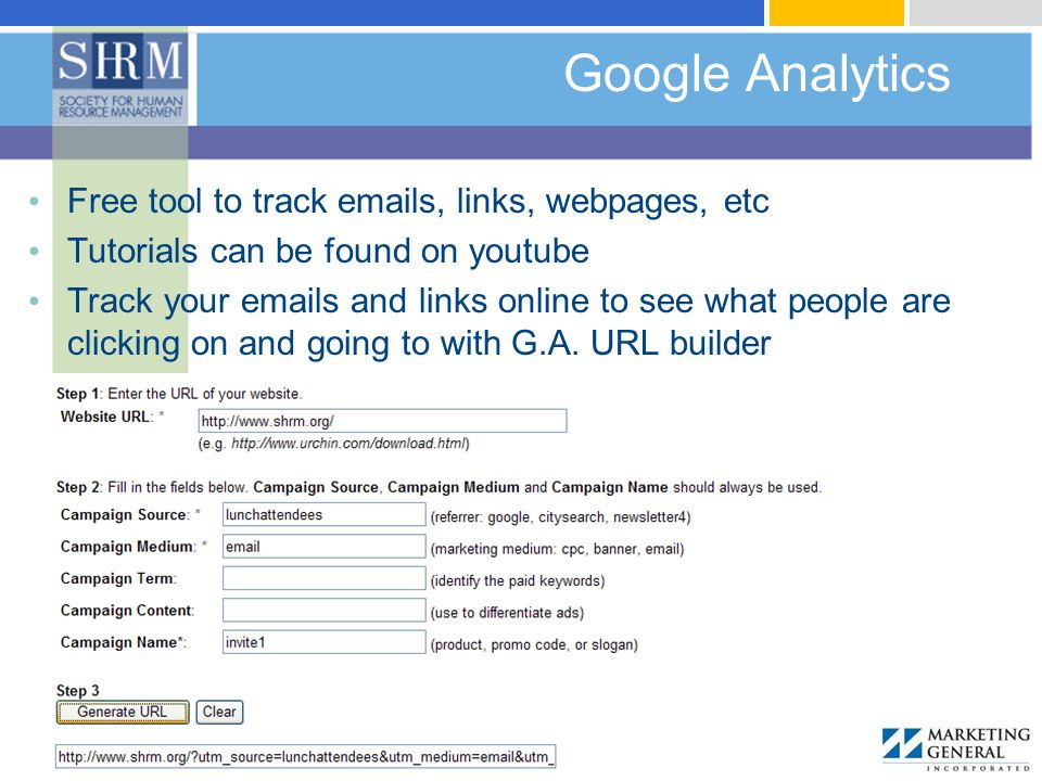 Google Analytics Free tool to track emails, links, webpages, etc