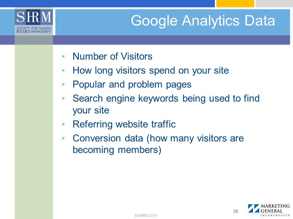 Google Analytics Data 3 buckets of traffic: Number of Visitors
