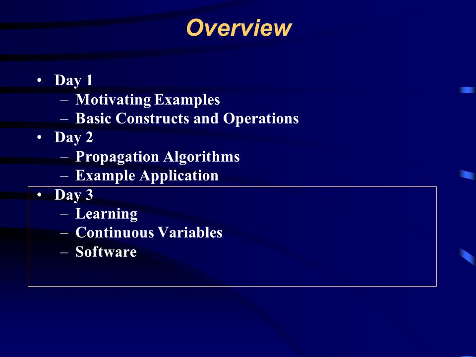 Overview Day 1 Motivating Examples Basic Constructs and Operations