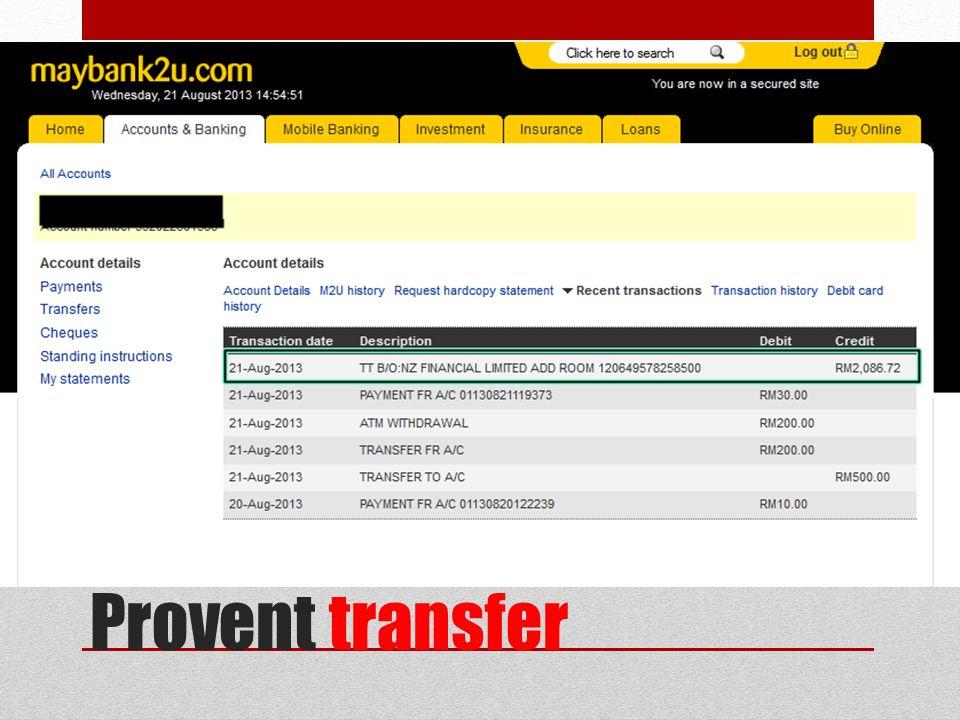Provent transfer
