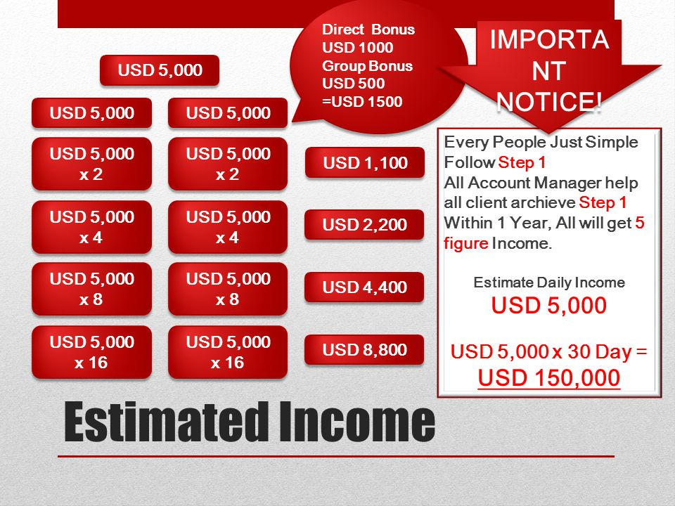 Estimated Income IMPORTANT NOTICE! USD 5,000 USD 150,000