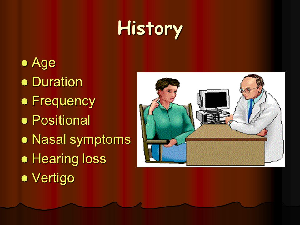 History Age Duration Frequency Positional Nasal symptoms Hearing loss