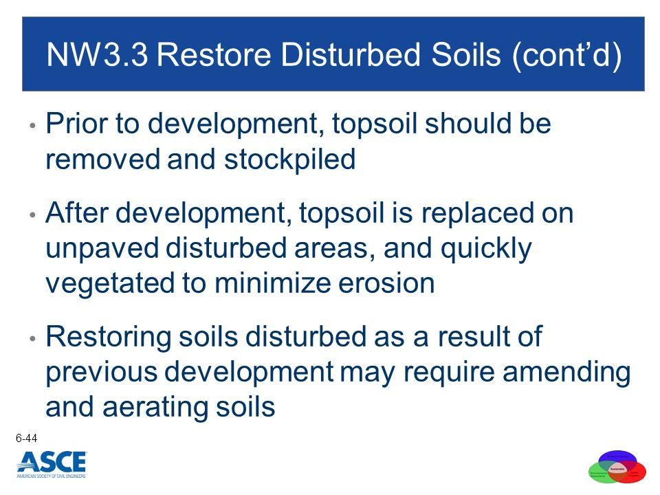 NW3.3 Restore Disturbed Soils (cont'd)