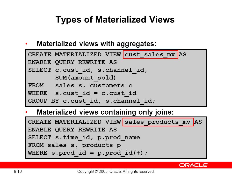Types of Materialized Views
