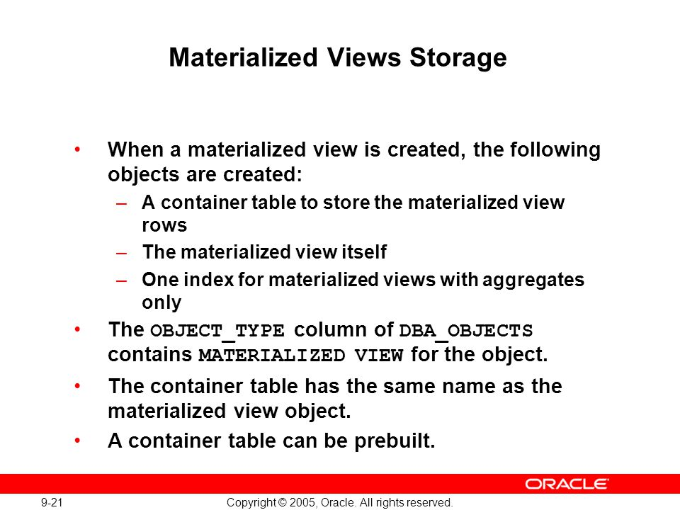 Materialized Views Storage
