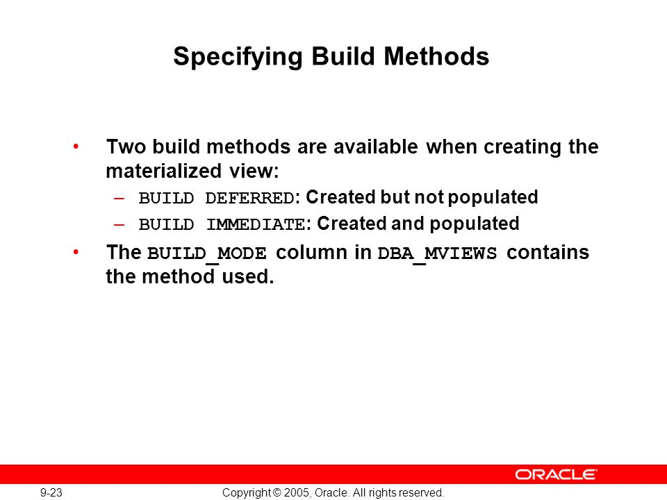 Specifying Build Methods
